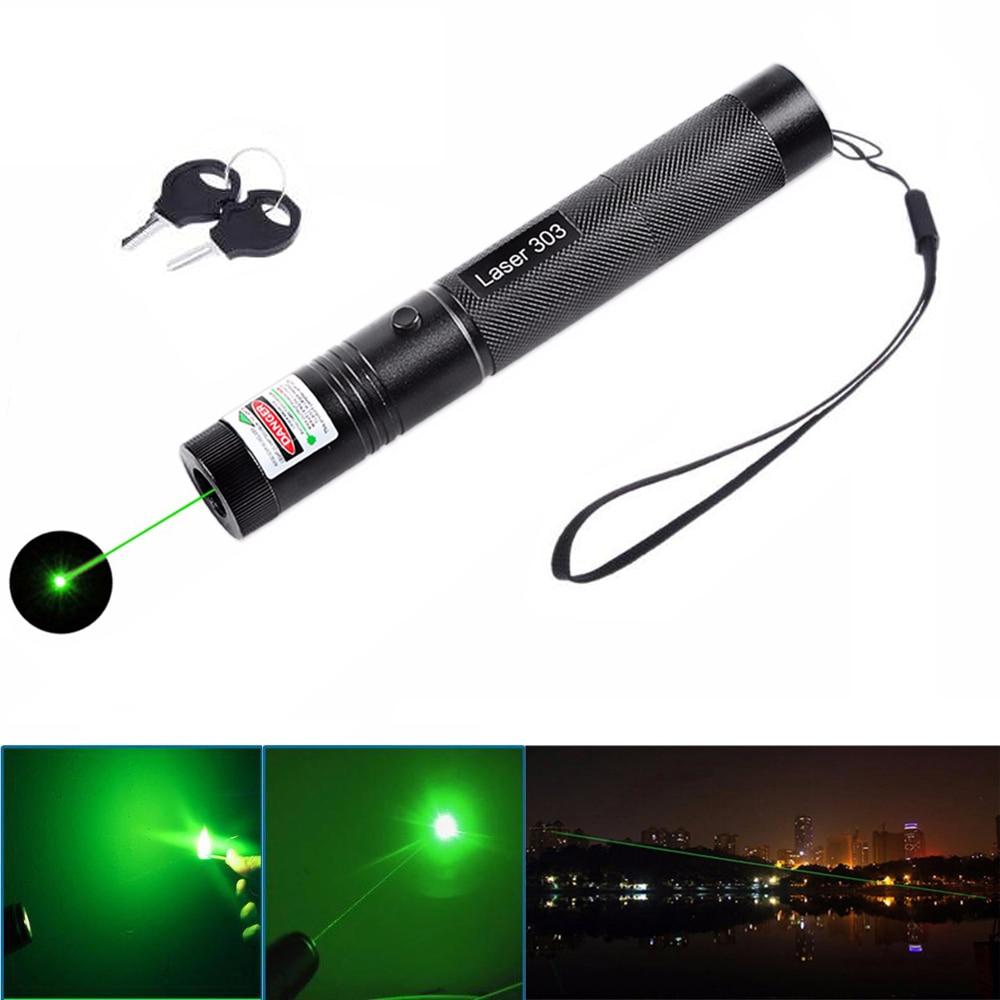 303 532nm 녹색 레이저 포인터 펜 높은 전원 눈부심 야외 손전등 전문 여행 표시기 사냥 레이저 장치