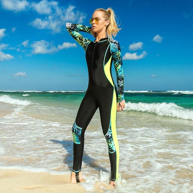 6ba46663ea9c9 Women's UPF 50+ Full Body Dive Skin Zip Front Long Sleeve Rashguard  One-piece