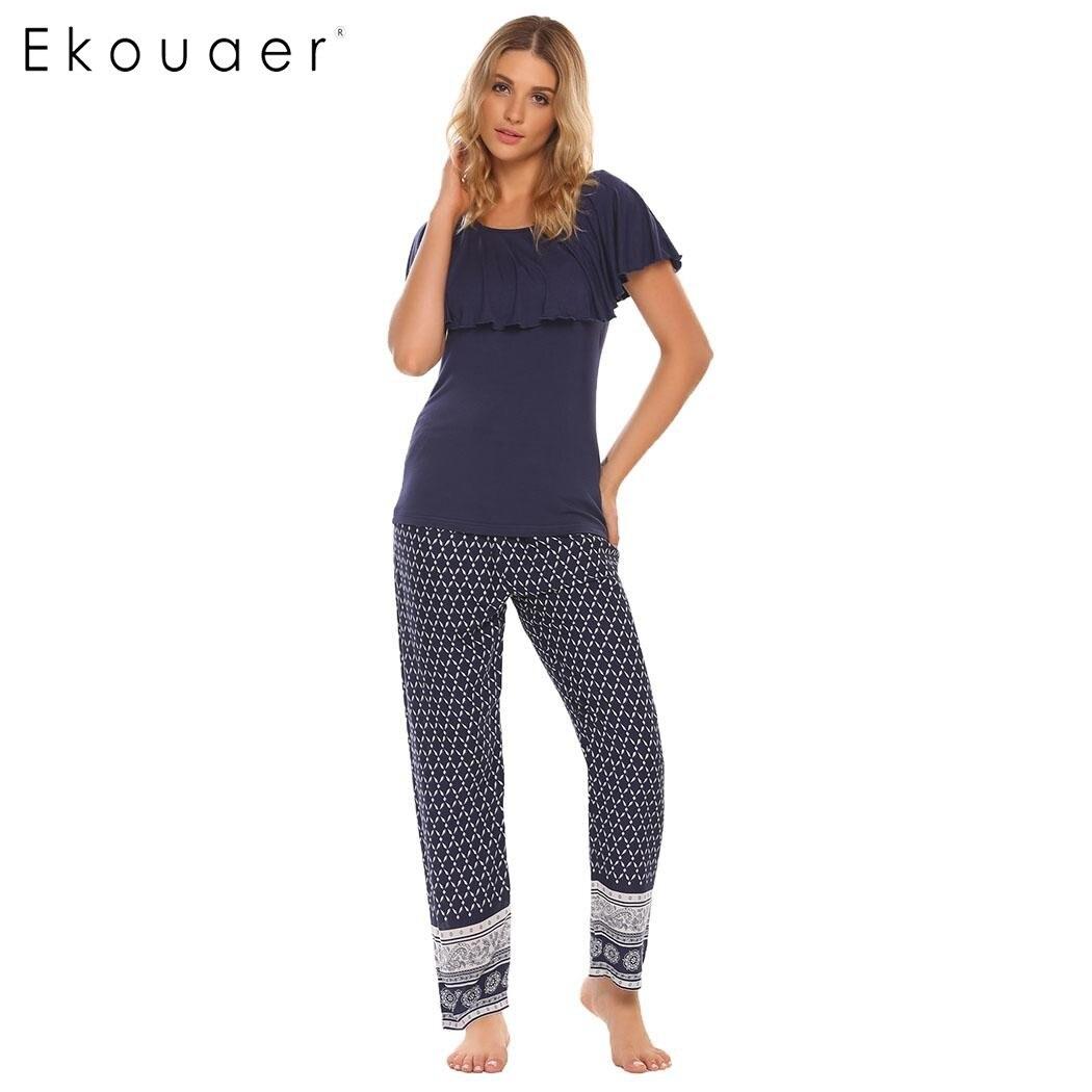 Ekouaer Bohemia Style Pajama Women Patchwork Ruffle Sleeve Tops With Elastic Waist Pants Pajamas Sets Autumn Casual Sleepwear