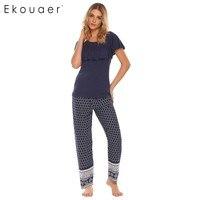 Ekouaer Bohemia Style Pajama Women Patchwork Ruffle Sleeve Tops With Elastic Waist Pants Pajamas Sets Autumn