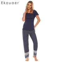 Ekouaer Bohemia Style Pajama Women Patchwork Ruffle Sleeve Tops With Elastic Waist Pants Pajamas Sets Autumn