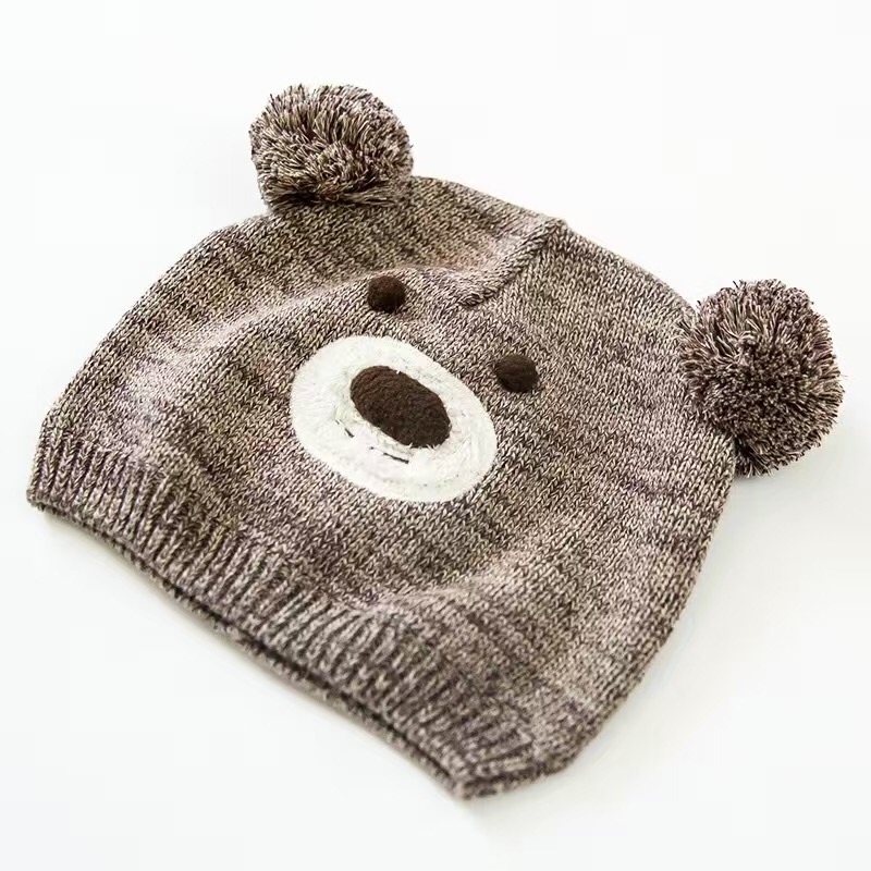 Brown Bear Cotton Toddler Hat Cute Baby Hat Embroidery Crochet Baby Beanies  Kids Fall Winter Cap Handmade Windproof Earmuff Cap-in Hats   Caps from  Mother ... 129eba744b7