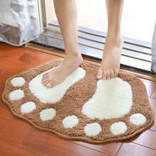 Cute flocking big feet home door carpet mat bathroom anti-skid pad rugs