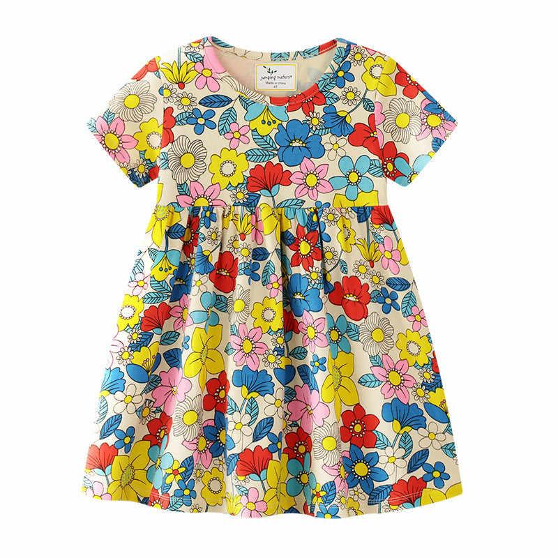 קפיצות מטרים נסיכת בנות פרחי שמלות סרוג טוטו תינוק שמלת בנות בגדים חדש 2019 ילדים שמלה קצר שרוול ילד שמלה