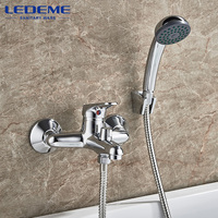 LEDEME Shower Faucet 1 Set Round Bathroom Chrome Plated Shower Faucets Surface Brass Inside Faucets Head