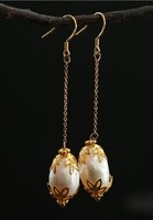 Japanese silver natural handwork baroque pearl hollow fashion feminine charm earring earrings hang accessorie Woman's Jewellery