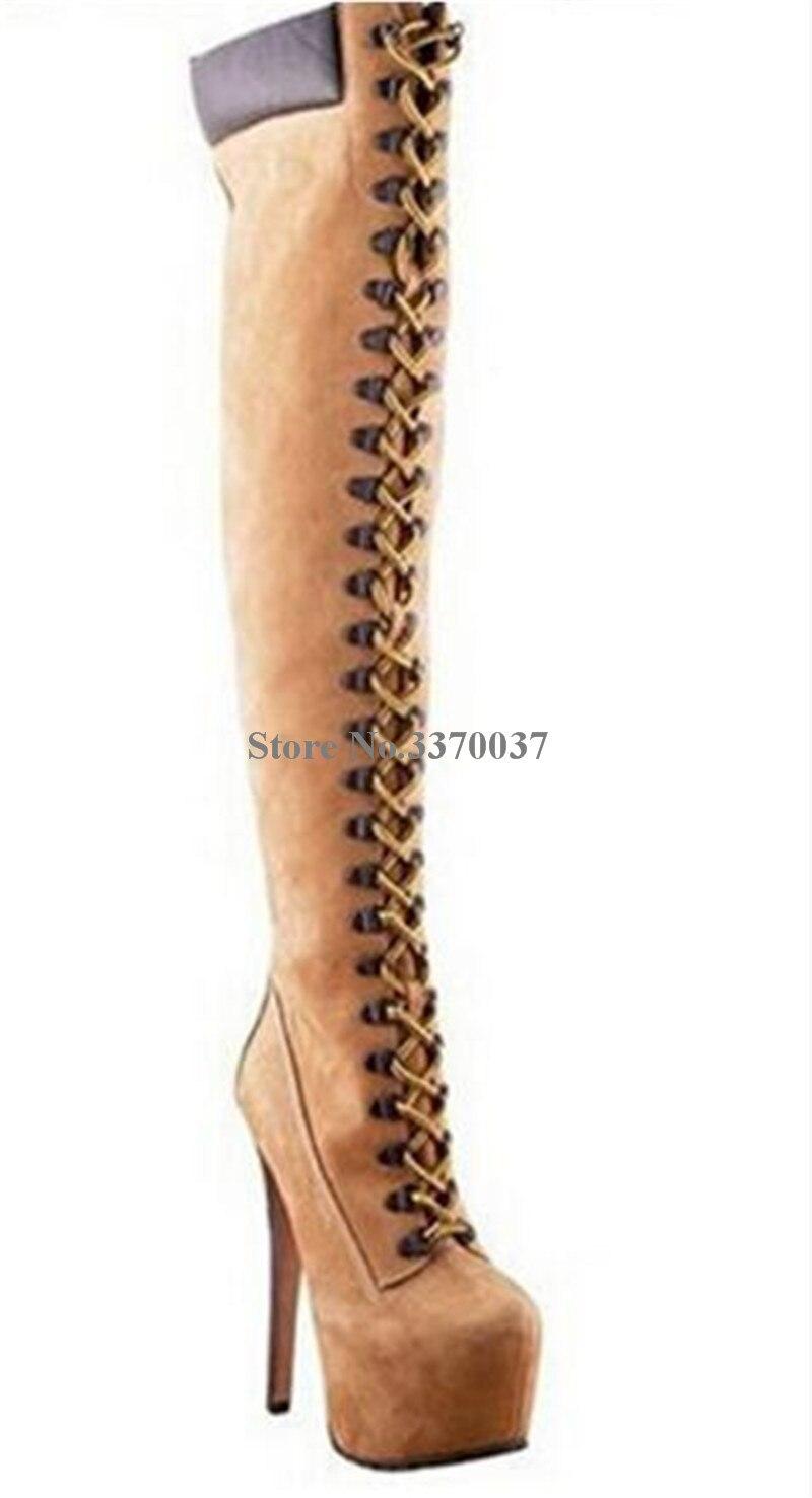 Design Botas Partido Suede Plataforma Talón Mujeres La Brand De Toe Rodilla Ronda Alto Leather Largas Sobre Cordones Alta 1qP5TwPn
