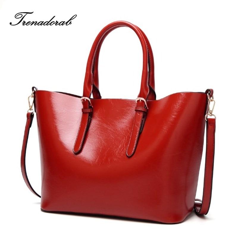 цена на Fashion Women Handbag PU Oil Wax Leather Women Bag Large Capacity Tote Bag Big Ladies Shoulder Bags Famous Brand Bolsas Feminina