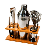 Cocktail Shaker Set 8 Piece Set Professional Bar Tool With Bamboo Bracket Kitchen Bar Perfect Family Cocktail Set