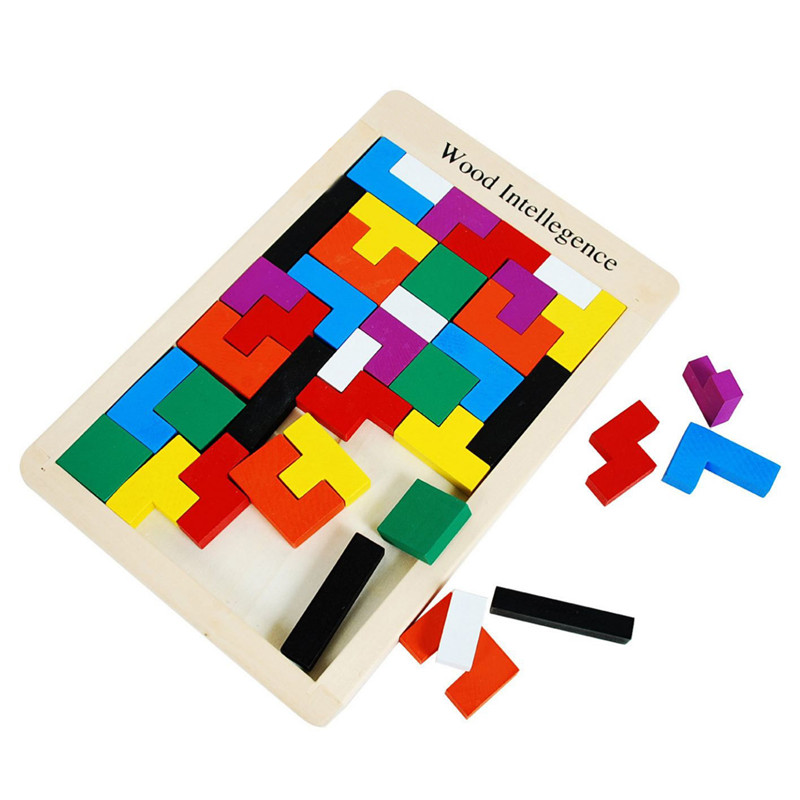 Classic Wooden Colorful Tangram Brain Tetris Wood Game Assembled Puzzle Preschool Children Play Training Educational Toys 2