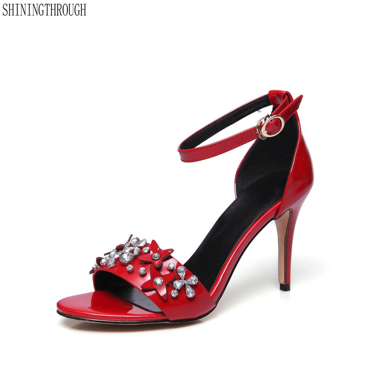 48e9138b44a37d Mariage Grande Véritable Noir En Cheville Rouge 41 Dames Bride Fête Femme  rouge Chaussures À Hauts Cuir La Taille Sandales Talons ...