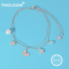 Романтический follwer 925 серебряный браслет двухэтажные Для женщин Модные украшения бренда оригинальный серебряный Италия дизайнер подарок