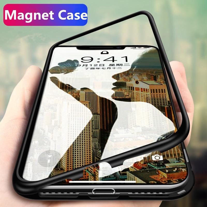 Metallo Adsorbimento Magnetico di Caso Per Samsung Galaxy S8 S9 Più Nota 8 9 Per iphone x 6 7 8 Più vetro temperato Cassa del Magnete