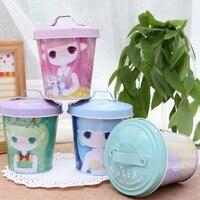 Free Shipping BF050 Fashion Tin Small Drum Tea Snacks Storage Box Tank Tin Box With Cover