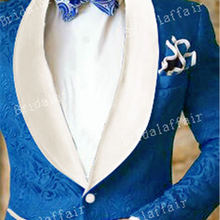 KUSON смокинг для жениха королевский синий жаккардовые блейзер мужской костюм комплект для свадьбы Вечерние Для мужчин костюмы 2 шт.(куртка+ цвета слоновой кости брюки