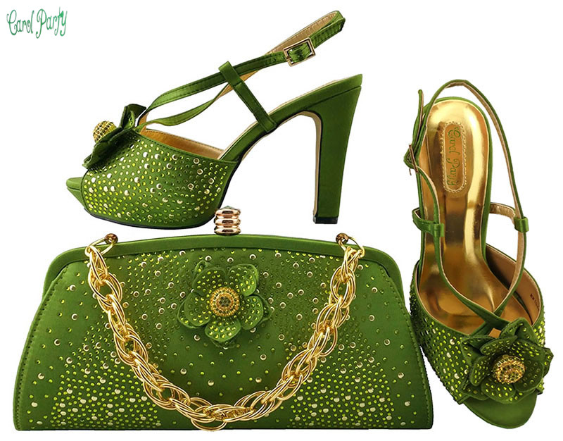 Newest Design African Women Pumps With Matching Bag With Rhinestone Elegant European Sandals MM1040 elegant women s pumps with suede and slingback design