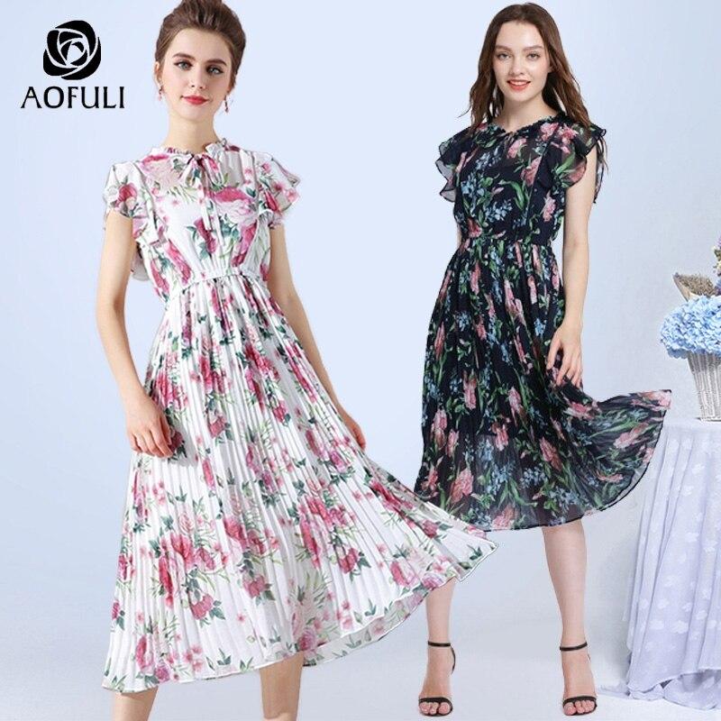 AOFULI Plus Size Floral Print Dress For Women Chiffon Dress Summer Boho Bow Tie Ruffles Pleated