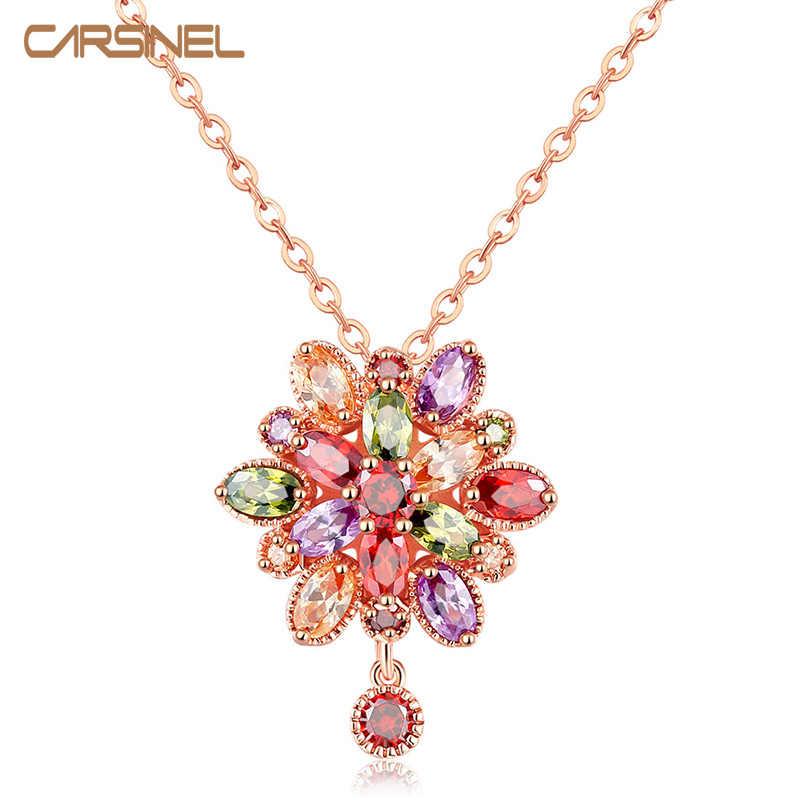 Mode Frauen Echte AAA Zirkonia Stein Hochzeit Halskette Rose Gold-farbe Weihnachten Geschenke Schmuck Großhandel Zubehör
