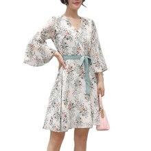 Плюс Размер 2XL Цветочный Принт Платья 2017 Весна Офис Элегантных Женщин Ботанический Цветок Шифон Dress Повязки Flare Рукавом Dress Maxi