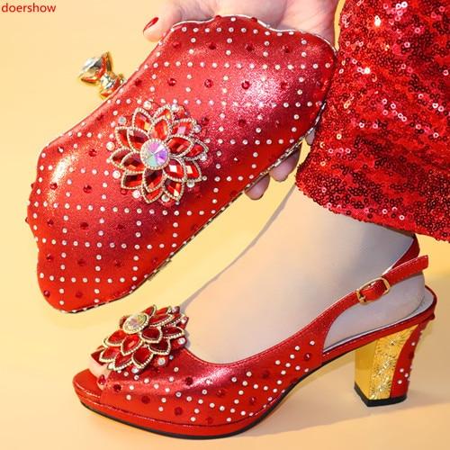 Und Tasche Doershow Zu Schuhe gold Set Sets Italienische Taschen rot Mit 38 Entsprechen Party purpurrot Afrikanischen Blau rosa Hxx1 2019 Set r0xqE0w