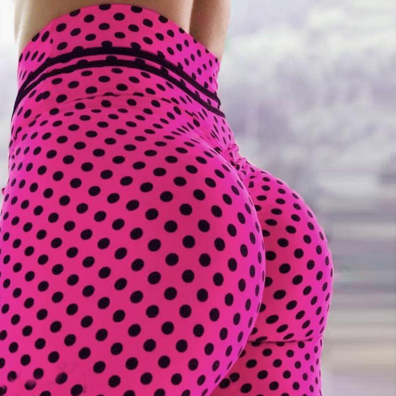 2019 Pink Color Leggings Hot Sell Women's  Black Spot  Push Up Legins Digital Print Pants Trousers Stretch  Plus Size Legging