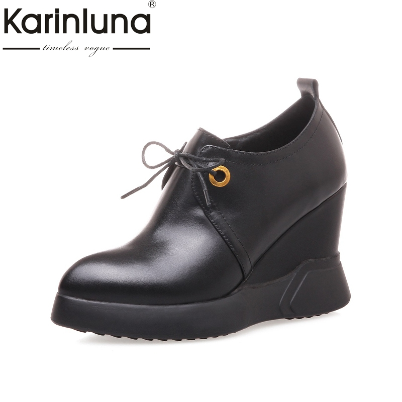 Karinluna 2018 Fashion Large Size 33-40 Genuine Leather Brand Shoes Women Wedge High Heels Lace Up Woman Pumps Cow Leather Shoes hot selling black white women genuine leather shoes woman fashion hidden wedge heel lace up casual shoes size 33 40