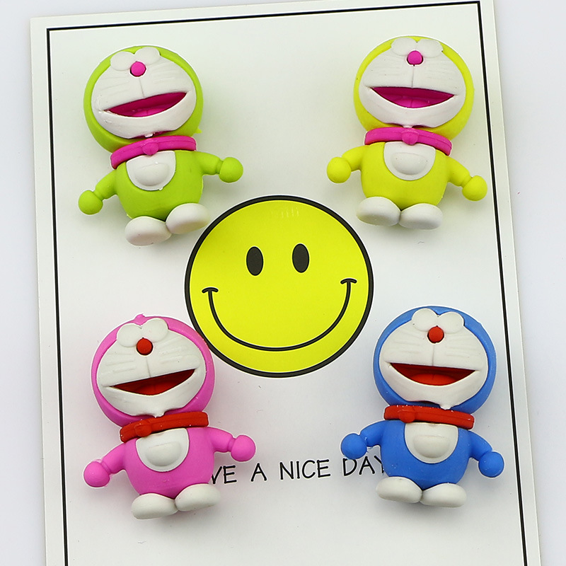 1Pcs New Creative Cartoon Doraemon Candy Color Novelty Eraser Rubber Primary School Student Prizes Gift Stationery E0528