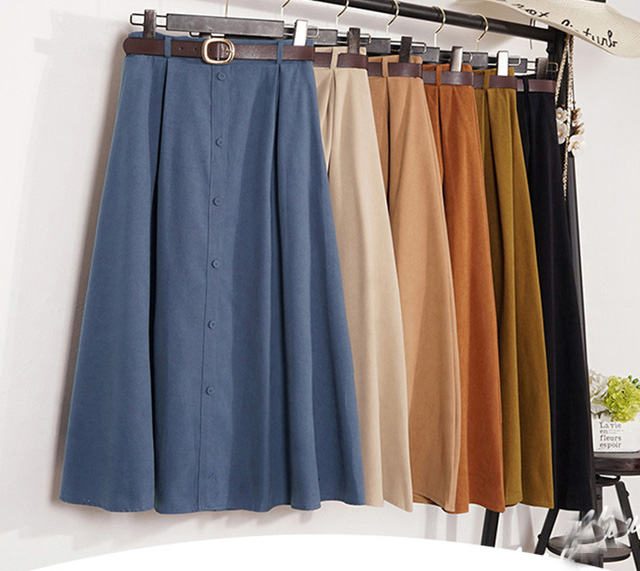 Autumn Winter Suede Velvet Skirt Female Long Elegant Korean High Waist Skirt Women Blue A-line Skirt