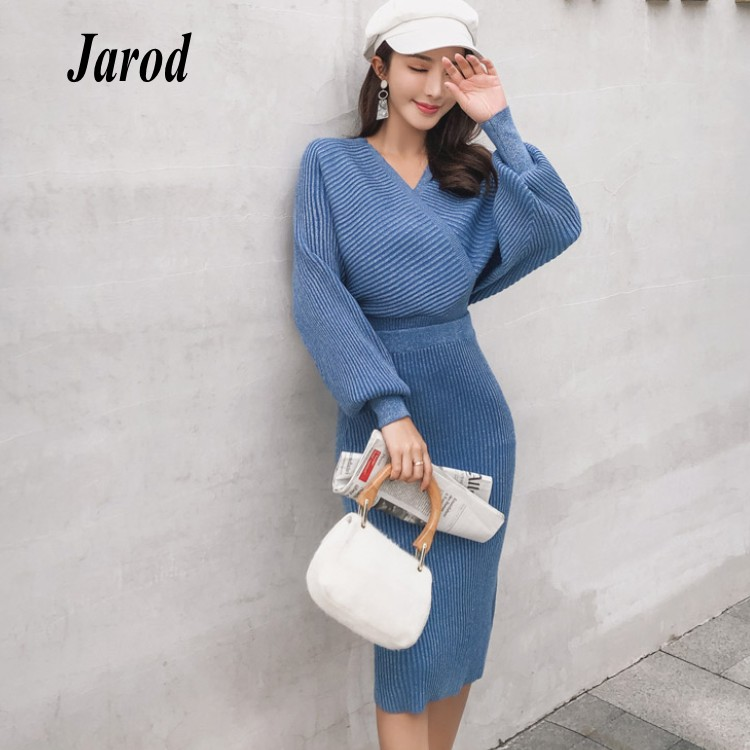3a124184e65 Detail Feedback Questions about 2018 Autumn winter Women knitting batwing  Sleeve Sexy V Neck Tops+two piece Tall waist pencil Skirt set on  Aliexpress.com ...