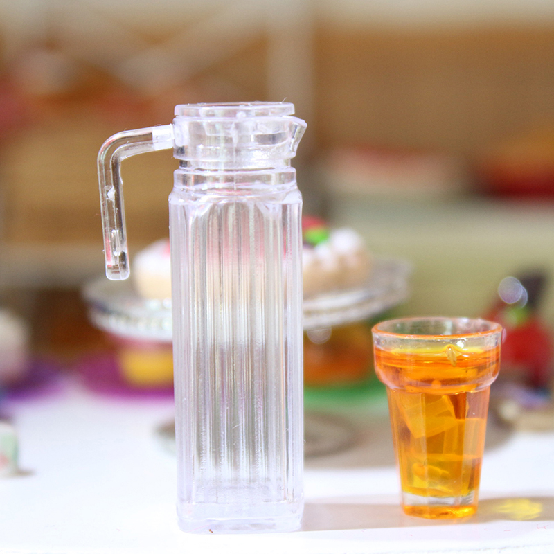 1/12 Dollhouse Miniature Juice Jug Tea Pot Cold Kettle Pretend Play Furniture Toys For Miniature Kitchen Classic Toys Accessory