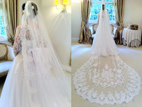 250CM Long White Ivory Lace appliqued bridal wedding veil