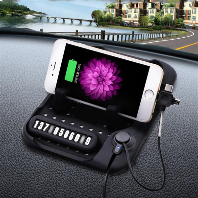 Universal Mobile <font><b>Phone</b></font> Car <font><b>Phone</b></font> Holder With <font><b>Charger</b></font> USB Cable For iPhone For Samsung For Type-c Adjustable Bracket Magnet Conne