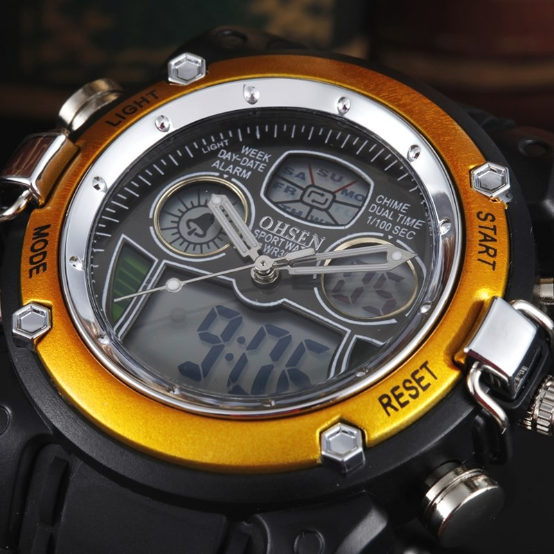 14f01963145 New OHSEN Waterproof Diver Military Wristwatch Mens Dual Time Sport Watch  Alarm Date Week Chronograph Relogio Feminino Masculino-in Quartz Watches  from ...