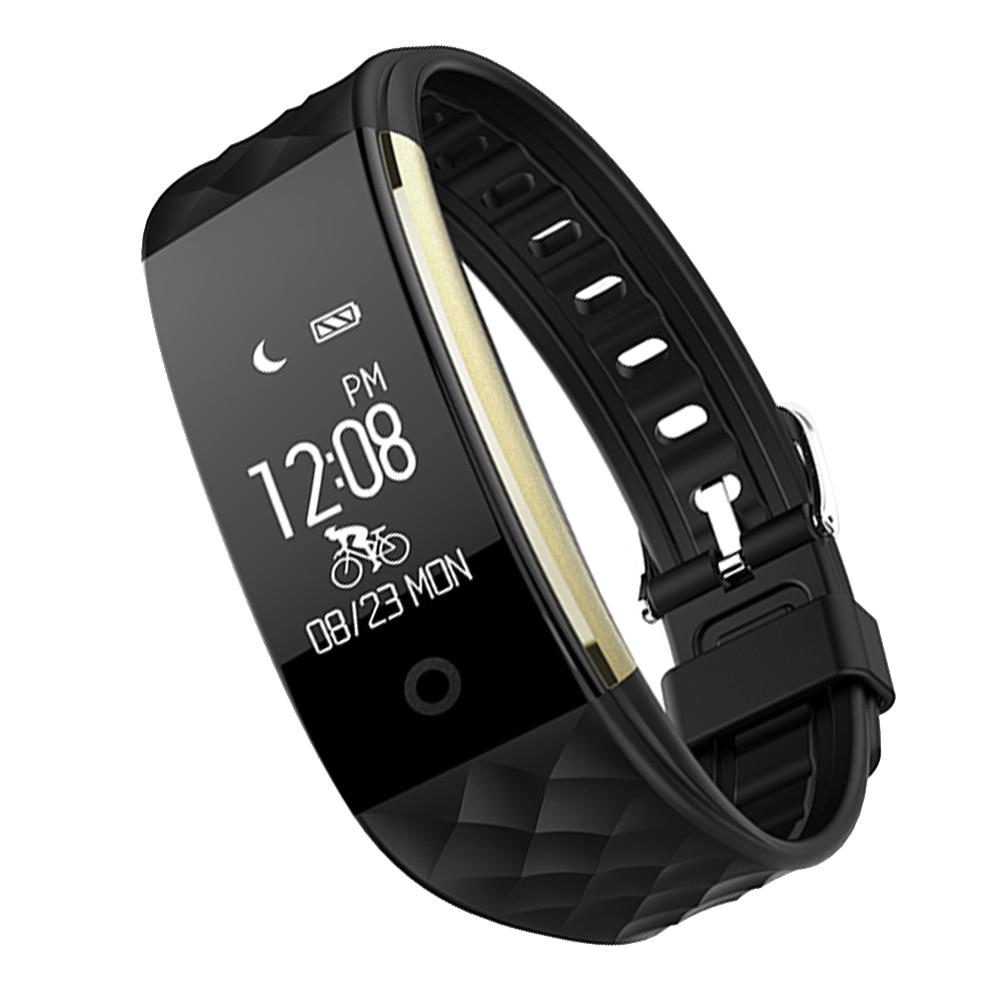 Fashion Wanita Pria Bluetooth Smart Gelang Tahan Air Heart Rate Monitor Kebugaran Tracker Wireless Smartwatch Gelang Pedometer untuk Saya Ponsel 7 6 6 S Sistem Android Smartphone Hitam-Intl