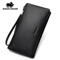 BISON DENIM luxury fashion men wallets genuine leather zipper clutch purse brand male business phone wallet