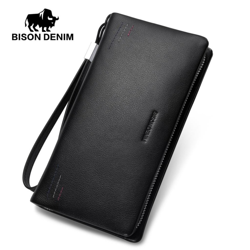 BISON DENIM luxury fashion men wallets genuine leather zipper clutch purse brand male business phone wallet luxury brand wallet genuine leather men clutch wallets big capacity fashion cowhide men wallet phone bag business male purse