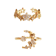 2019 Star Moon Crystal Personalidad Pearl Cubic Zirconia Women Jewelry Golden Ring Exquisite Popular Trendy Adjustable Size 3076