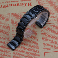 Polished Ceramic Watchband for Samsung Gear S2 S3 Sport Watches Smart wristwatch accessories 20mm 22mm black white straps bands