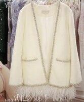 KENVY Brand fashion women's high end luxury winter mohair tassel white pearl cardigan coat
