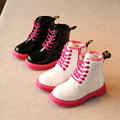 New 2017 Winter fashion big children leather snow Boots high heel plus velvet kids snowboots boots for girls in black white