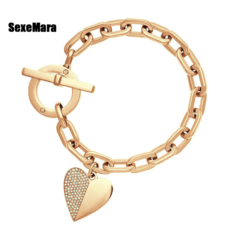 Women's Bracelet European US Fashion High Quality Polished Crystal Gold Silver Rose Gold Heart-shaped Wrist Bracelet