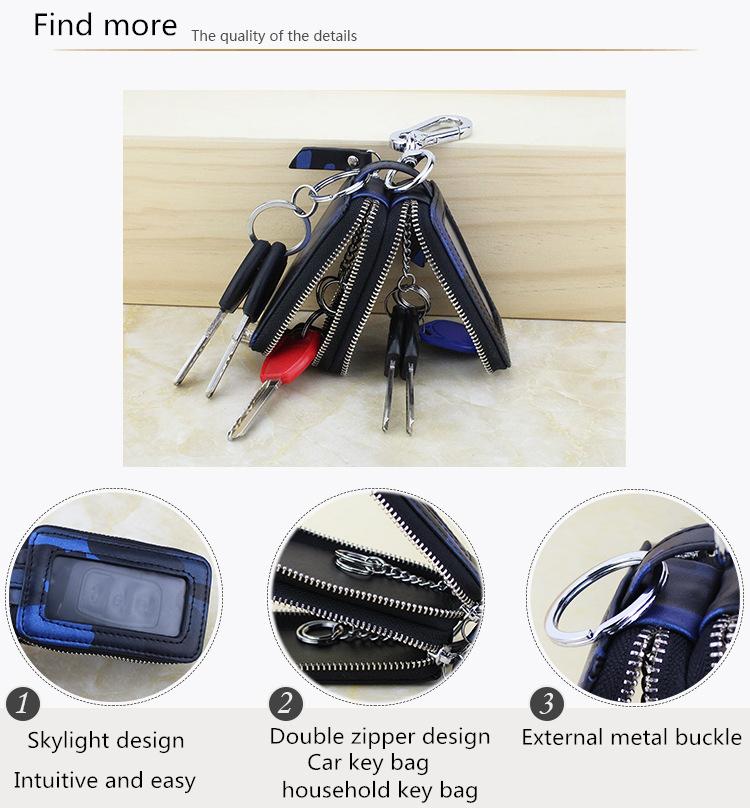 ключница высокого качества мужская кожаная ключа автомобиля бумажник для женщин классический новый двойной молнии ключа автомобиля случаях организатор сумка ключ мода