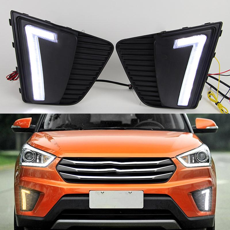 Car Styling LED DRL Daytime Running Light Fog Lamp For Hyundai IX25 Creta 2015 With Yellow Turn Signal Function Auto Accessories free shipping 2015 hyundai ix25 daytime running light fog light led drl fog lamp fit for hyundai ix25