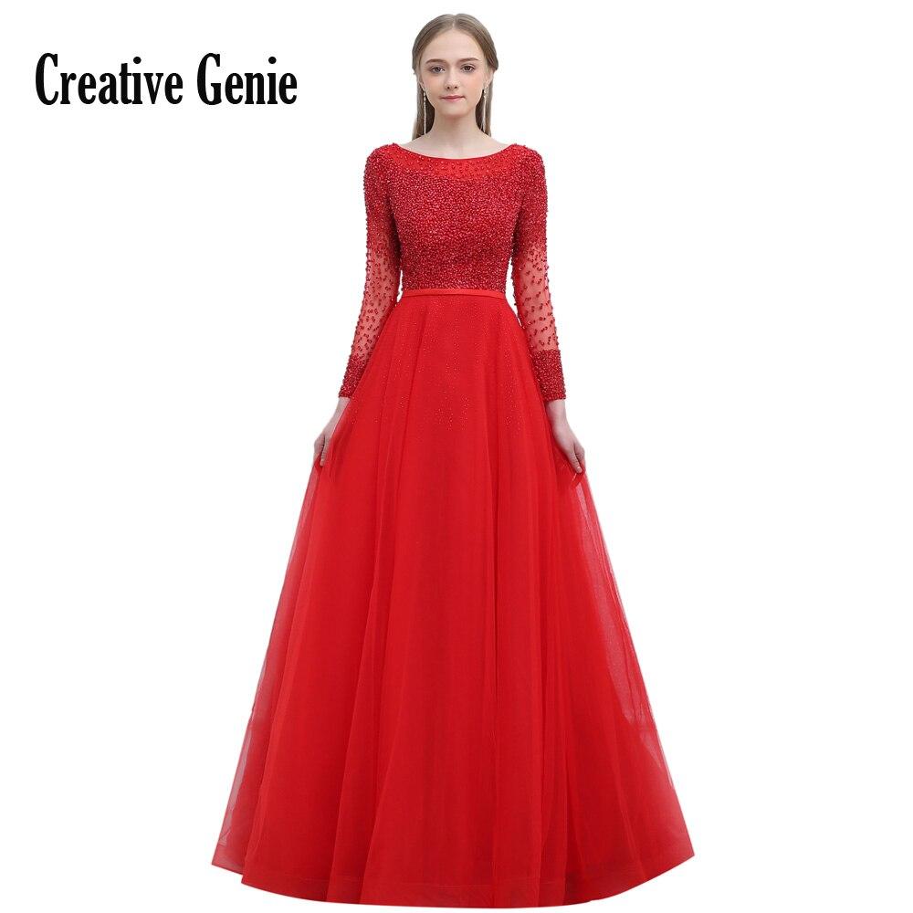 Creative Genie Sexy manches longues robes de soirée princesse bateau cou perlé robe formelle fête bal robes de bal plusieurs couleurs
