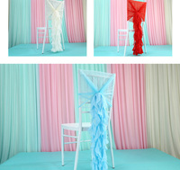Outdoor DIY Wedding Decoration Wedding Bamboo Chair Covers New Year Sash Ribbon Chair Covering Decoration