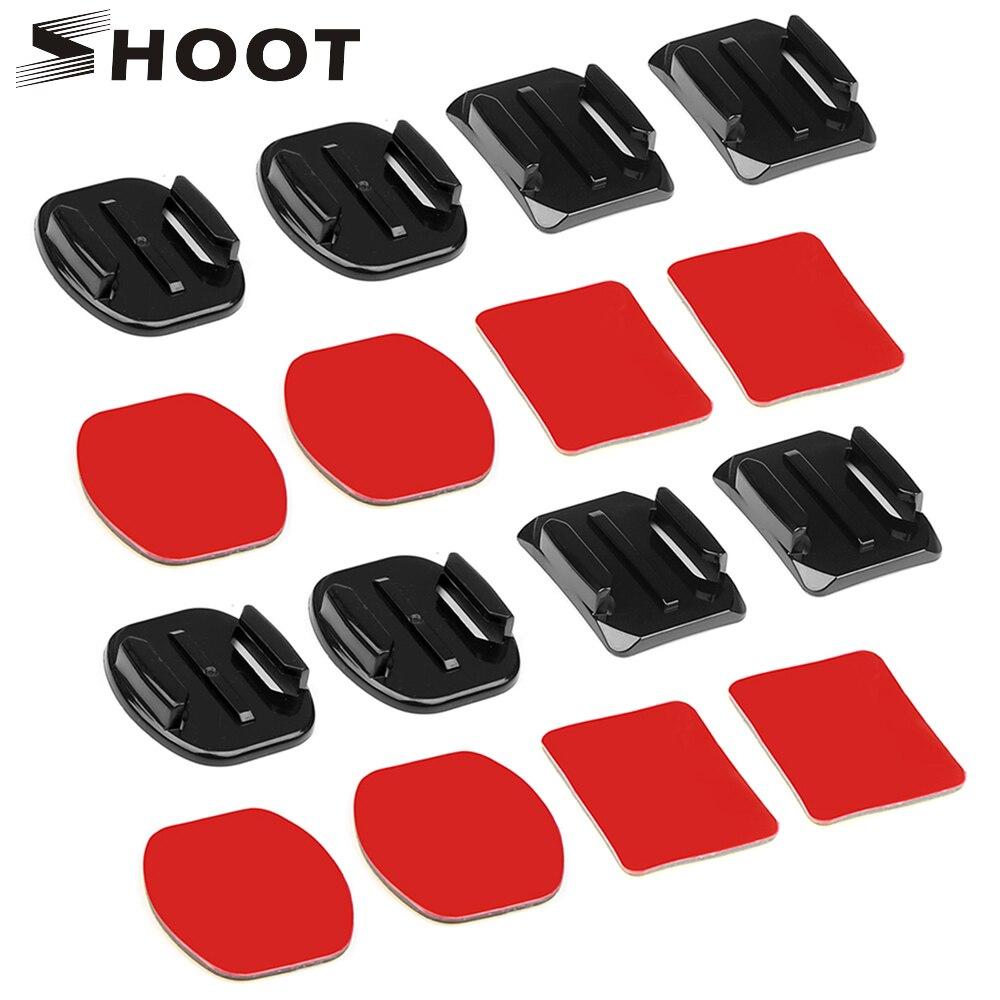 SHOOT Flat Curved Adhesive Sticker Surface Set For GoPro Hero 8 7 5 Dji Osmo Xiaomi Yi 4K Sjcam M10 Eken Action Camera Accessory