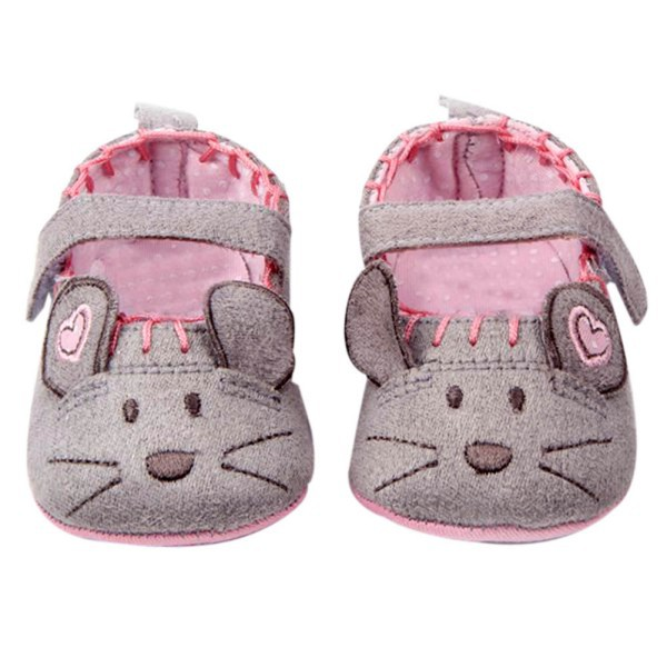 Cotton Grey Pink Cartoon Mouse Soft With Pattern Shading Soft Sole First Walkers Baby Shoes