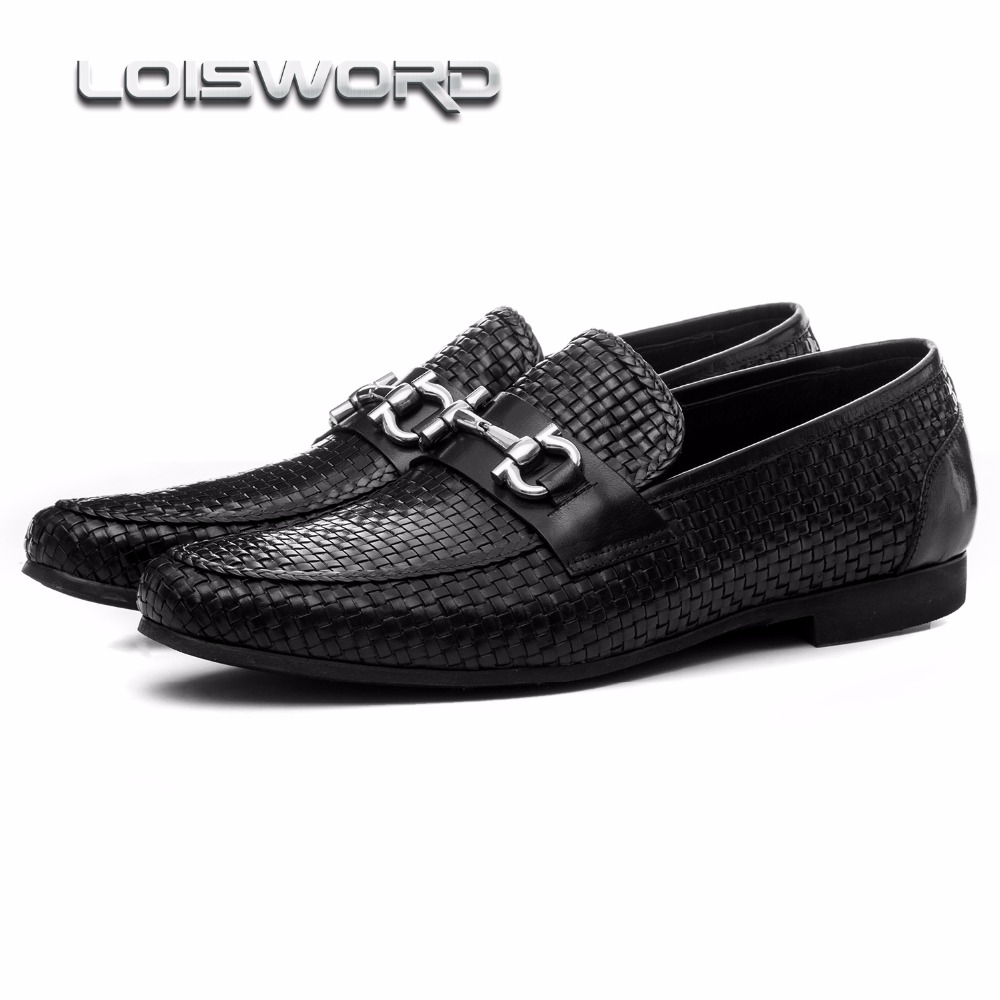 LOISWORD Large size EUR46 woven design black summer loafers shoes genuine leather mens casual shoes with buckle