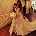 Sofia Vergara Querida Romantic Lace A Linha de Vestidos de Casamento Apliques Mangas Destacáveis Trem Vestidos de Noiva