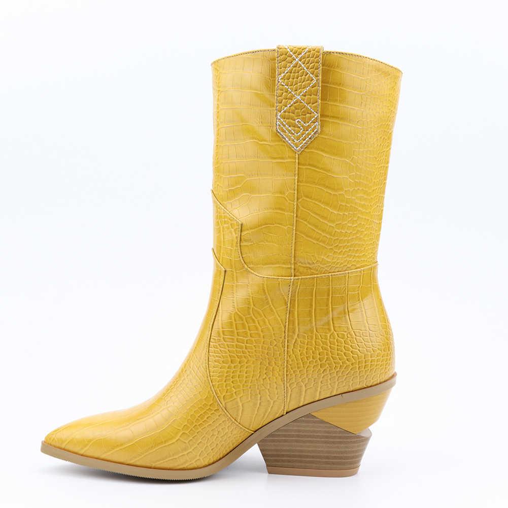 Yüksek kaliteli Marka tasarım Sarı sonbahar kış Büyük Boy Retro tıknaz Topuklu çizmeler kadın ayakkabıları Kadın Batı çizmeler Ayakkabı kadın